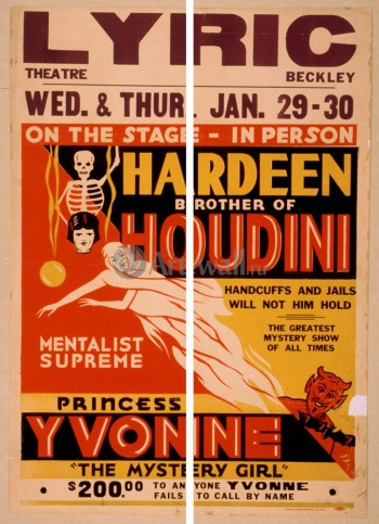 Модульное панно Hardeen Brother of Houdini, Mentalist Supreme, Handcuffs and Jails Will Not Hold Him, Кино
