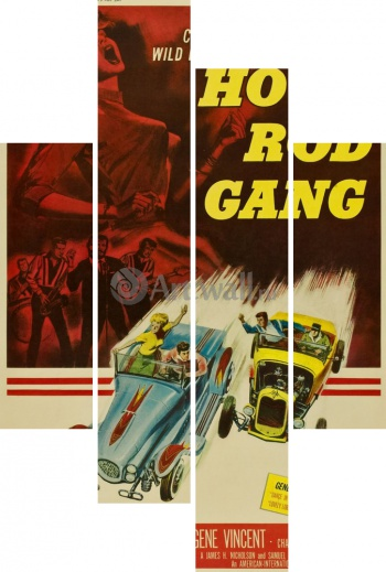 Модульное панно Hot Rod Gang, Crazy Kids Living to a Wild Rock 'n Roll Beat,