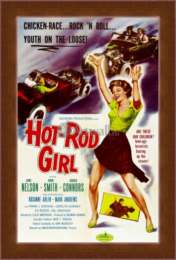 Магнитная картина Hot Rod Girl, Chicken race, Rock 'n Roll, Youth on the Loose, Кино