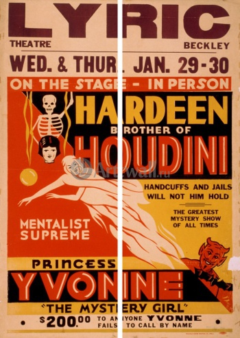 Модульное панно Hardeen Brother of Houdini, Mentalist Supreme, Handcuffs and Jails Will Not Hold Him, Цирк