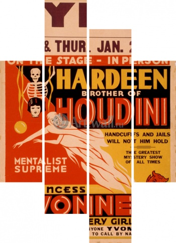 Модульное панно Hardeen Brother of Houdini, Mentalist Supreme, Handcuffs and Jails Will Not Hold Him,