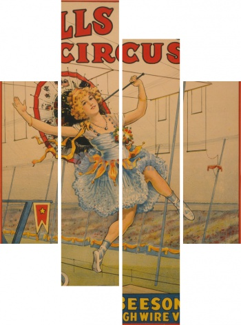 Модульное панно Sells Floto Circus, M'lle Beeson A Marvelous High Wire Venus,